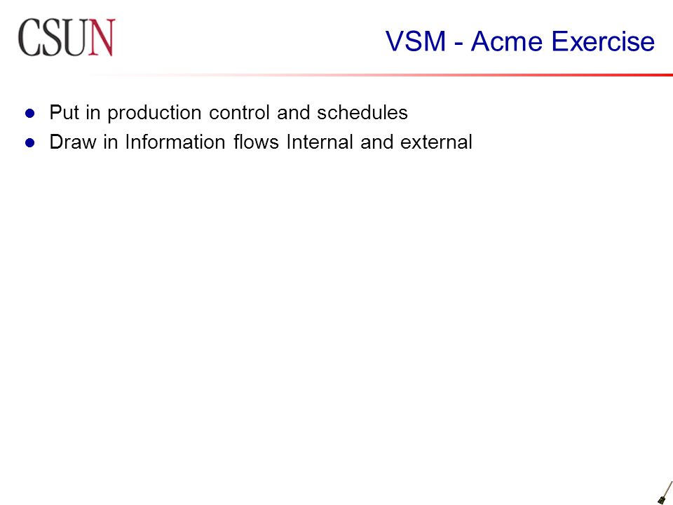 VSM - Acme Exercise Put in production control and schedules