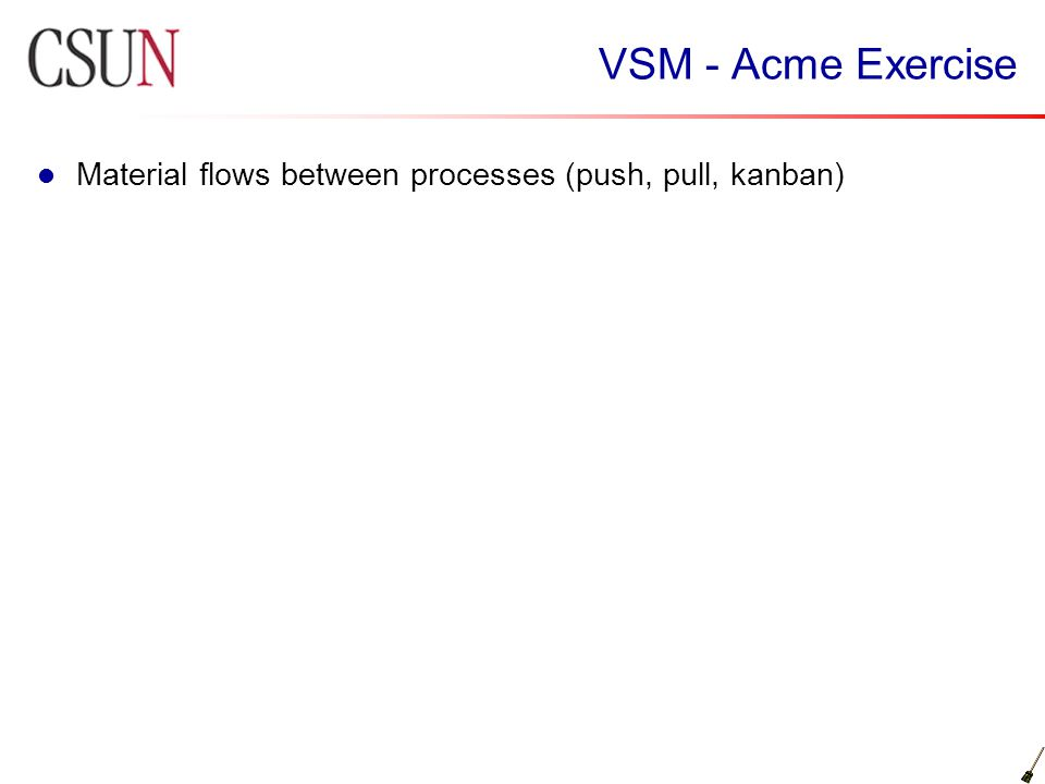 VSM - Acme Exercise Material flows between processes (push, pull, kanban)