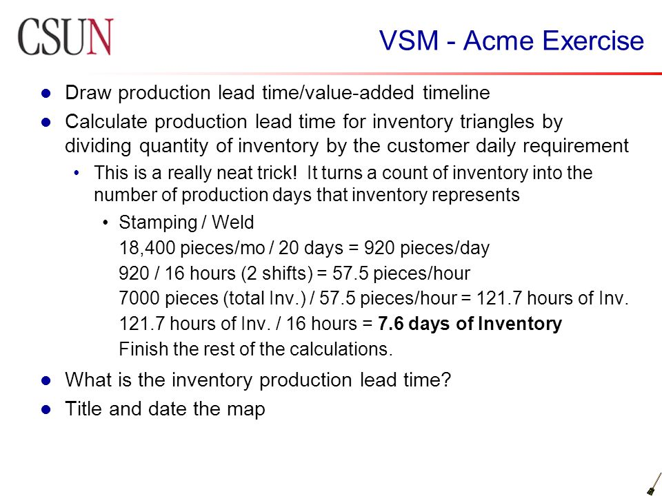 VSM - Acme Exercise Draw production lead time/value-added timeline