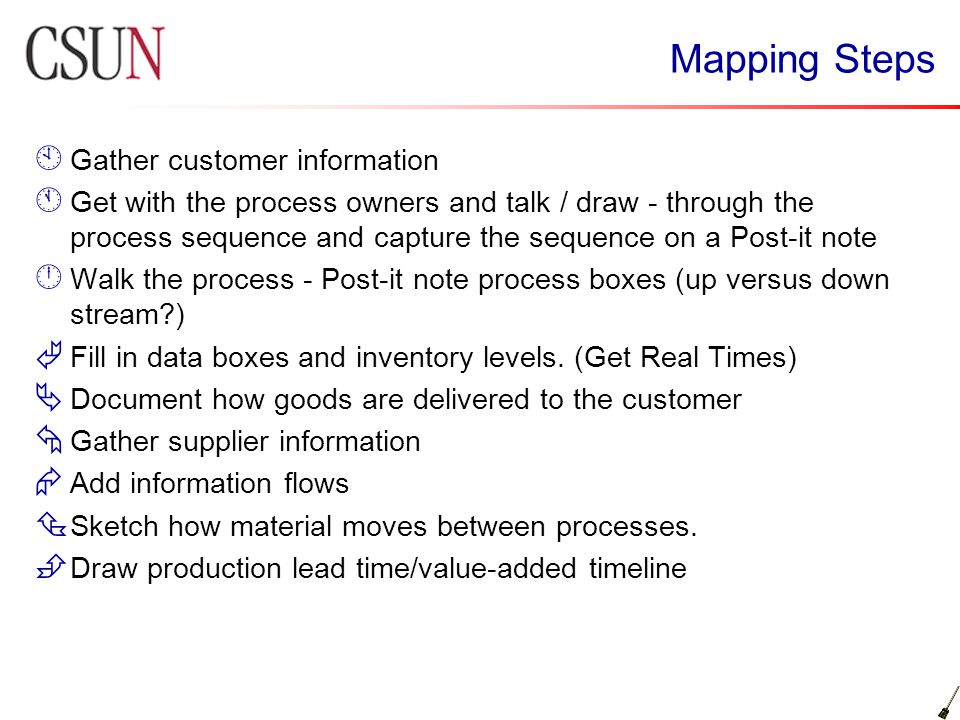Mapping Steps Gather customer information