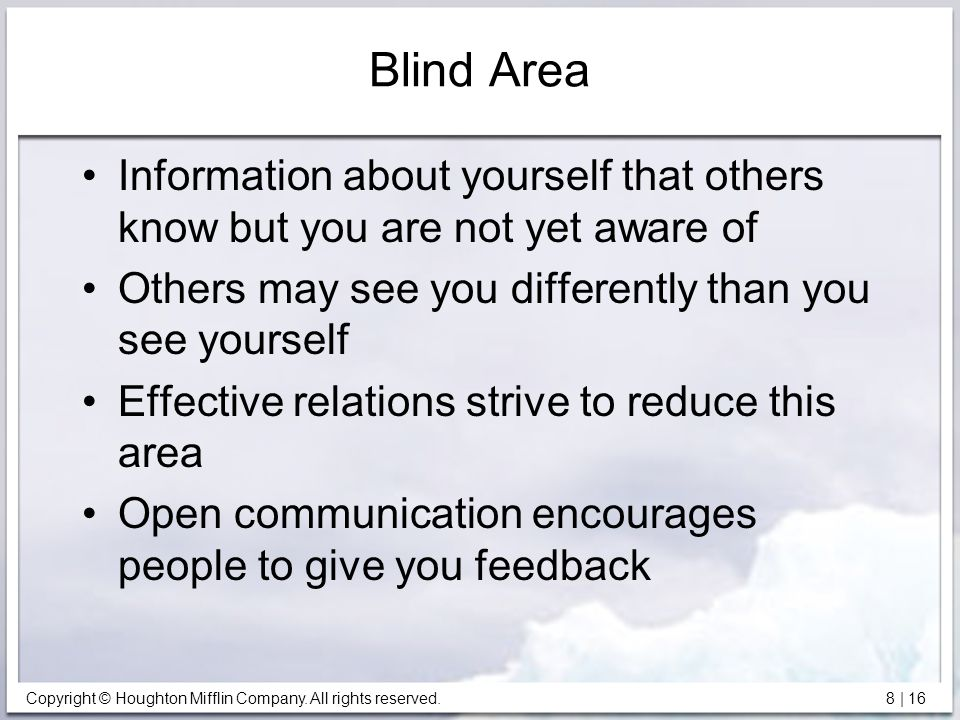 Blind Area Information about yourself that others know but you are not yet aware of. Others may see you differently than you see yourself.