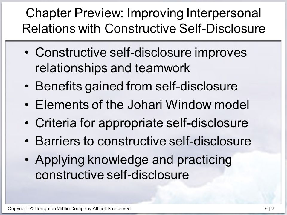 Chapter Preview: Improving Interpersonal Relations with Constructive Self-Disclosure