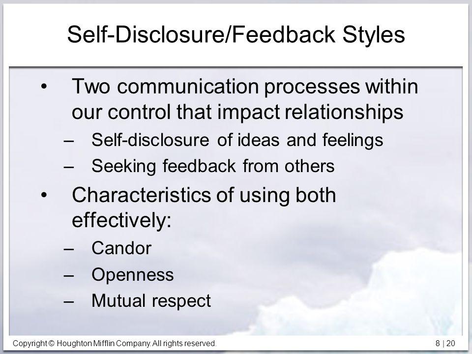 Self-Disclosure/Feedback Styles