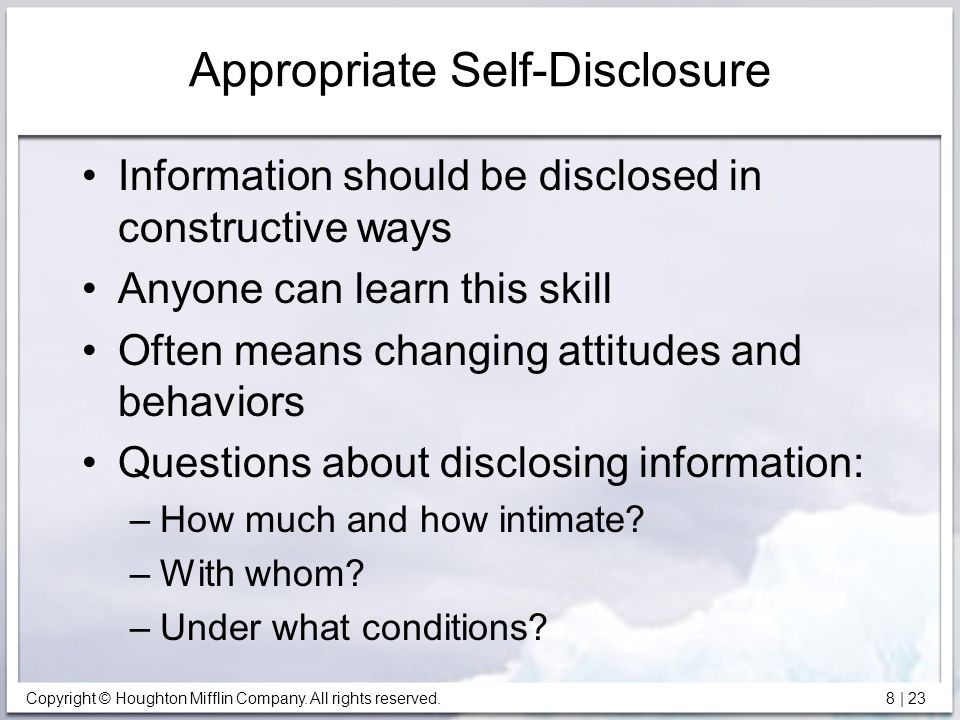 Appropriate Self-Disclosure