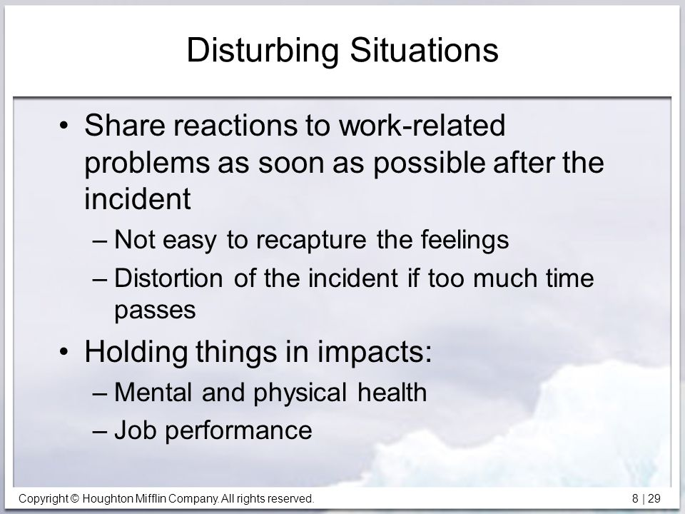 Disturbing Situations