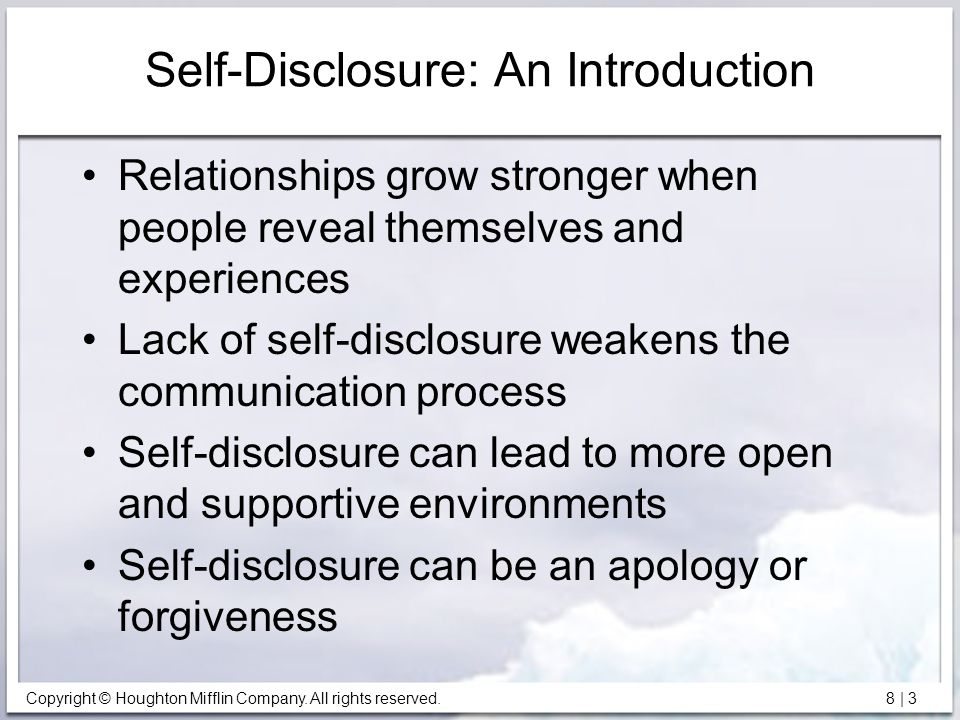 self disclosure in relationships essay Sexual self-disclosure is one of the most intimate forms of self-disclosure  in  this paper, we will review current theorizing as to the extent to which culture and.