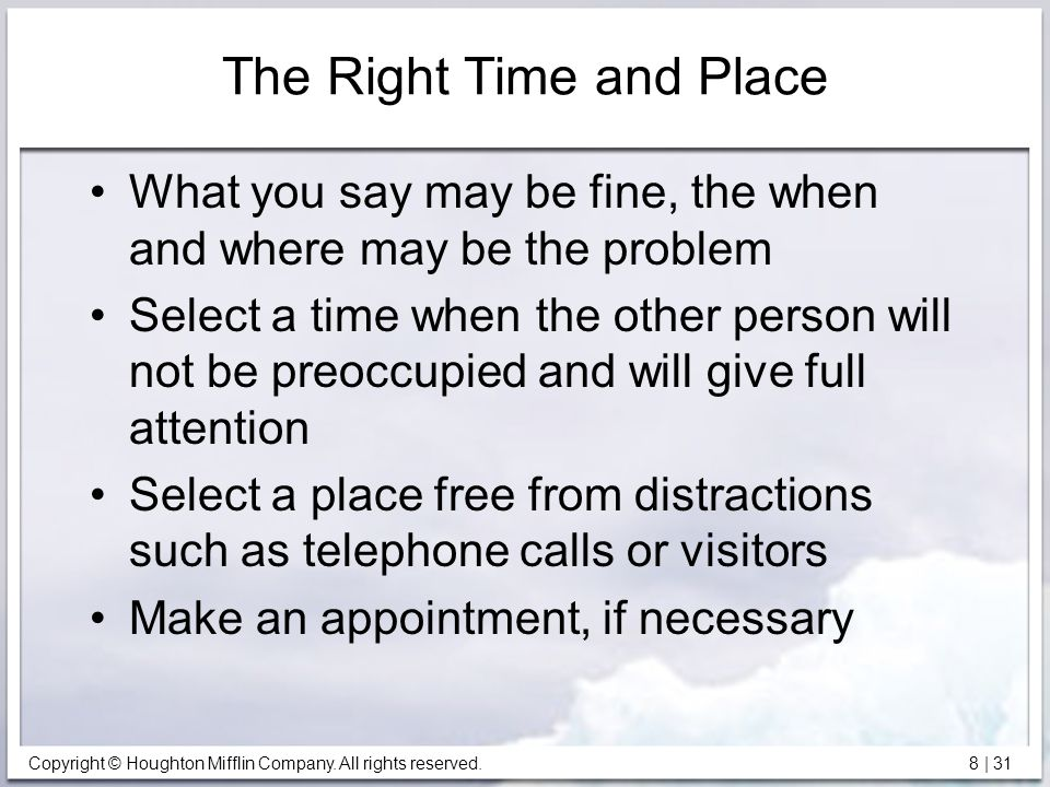 The Right Time and Place