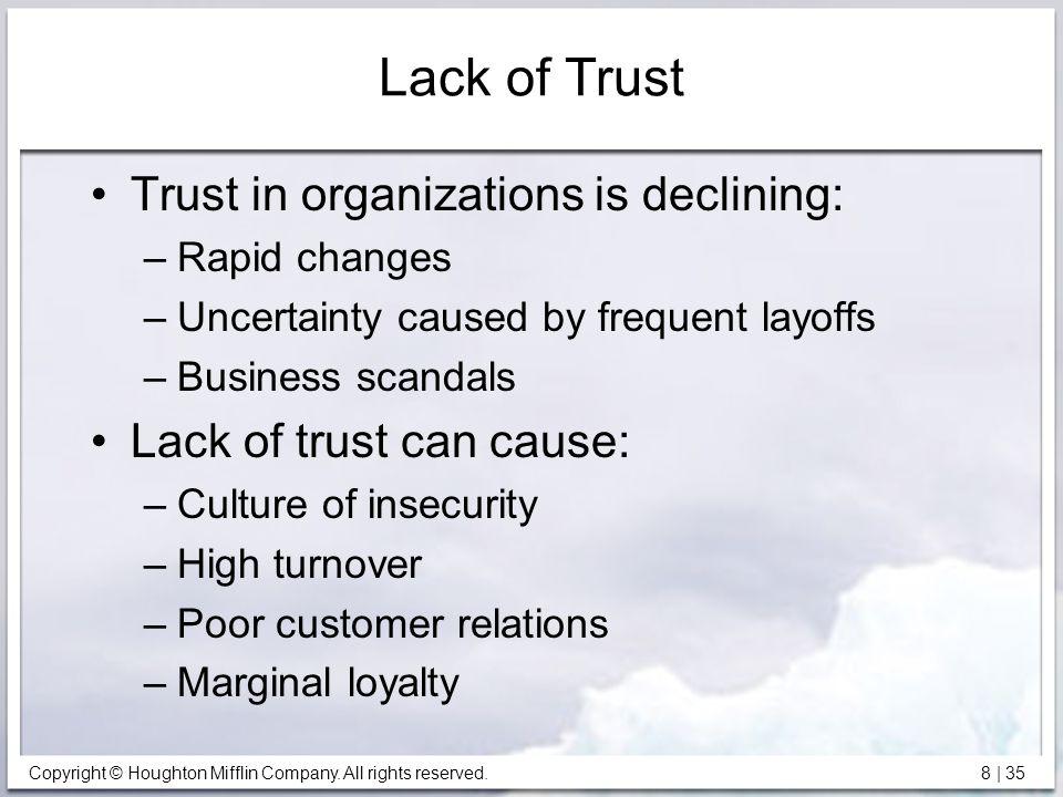 Lack of Trust Trust in organizations is declining: