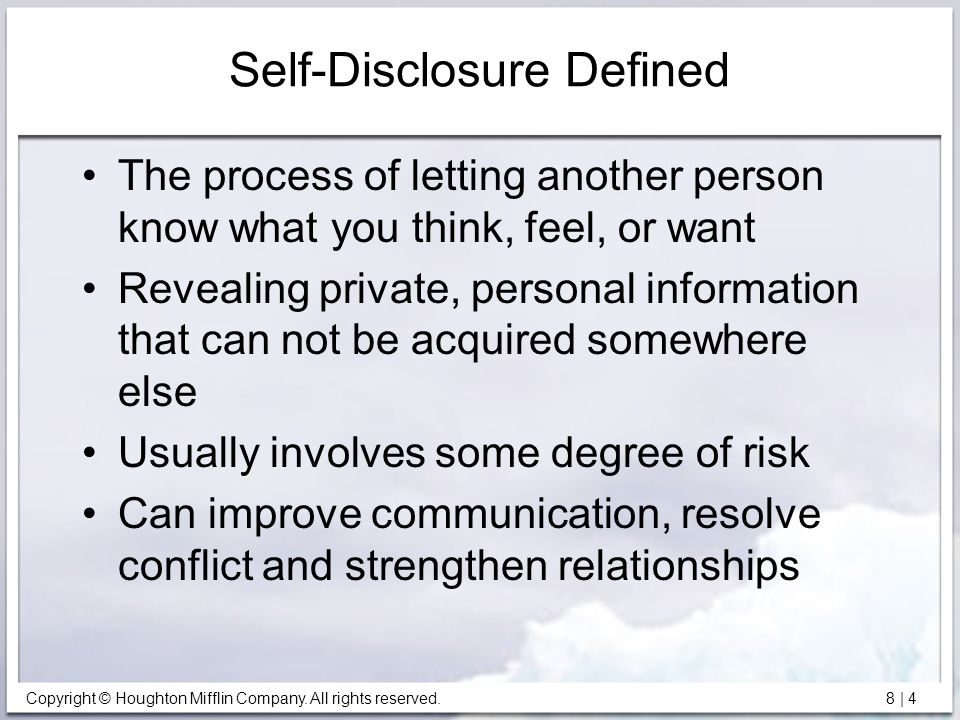 Self-Disclosure Defined