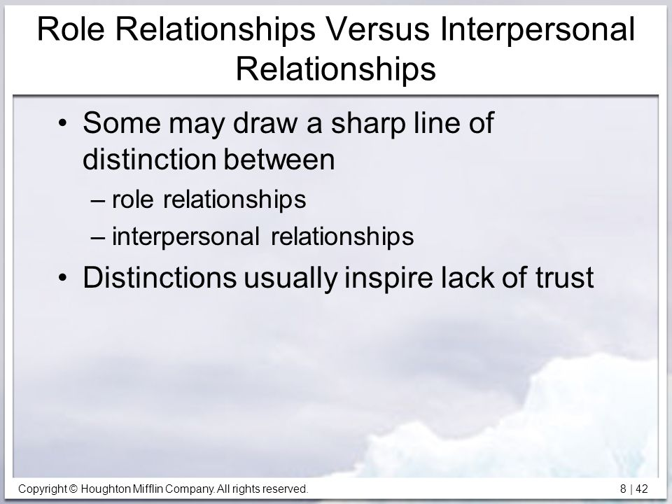 Role Relationships Versus Interpersonal Relationships