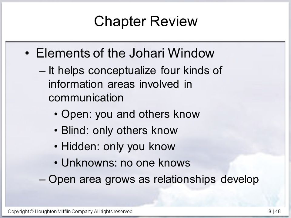 Chapter Review Elements of the Johari Window