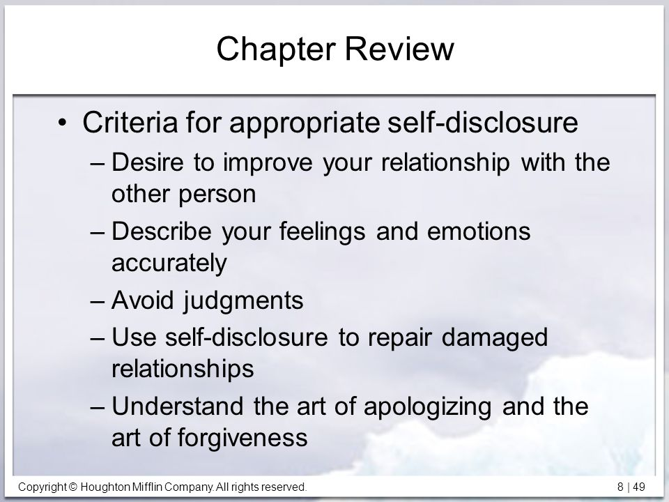 Chapter Review Criteria for appropriate self-disclosure