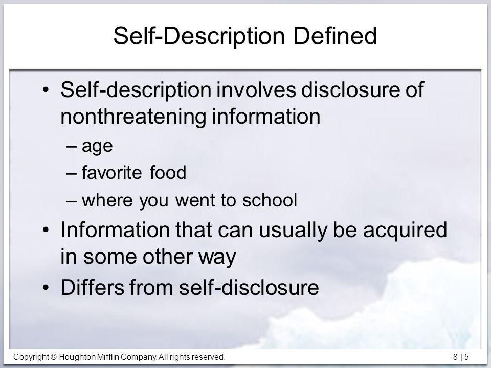 Self-Description Defined