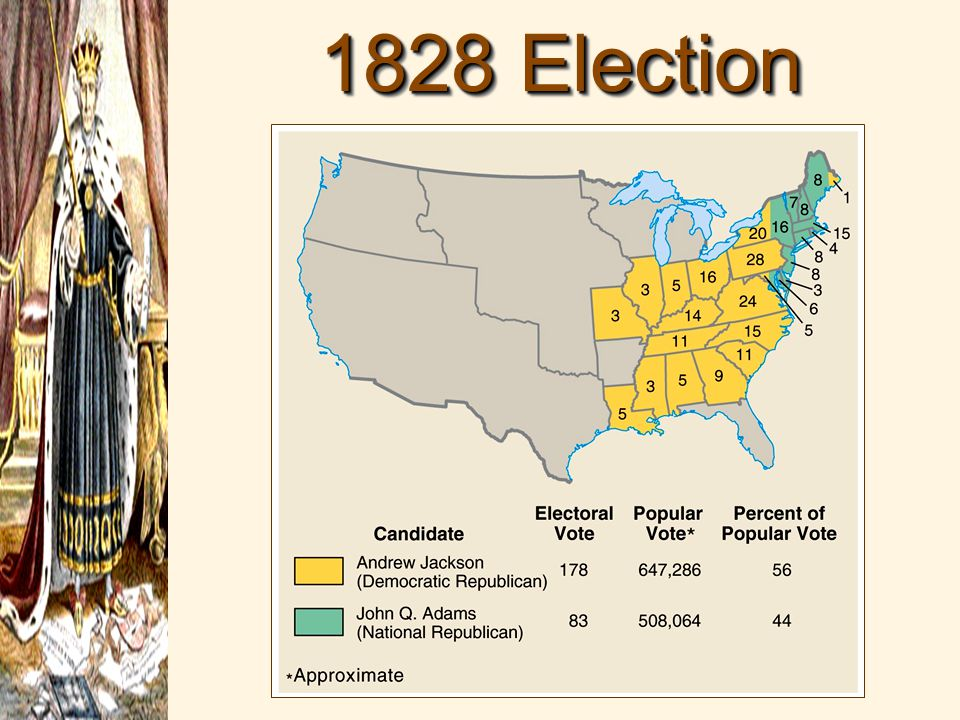 the 1828 election By: salwa a jackson vs adams: election of 1828 who won andrew jackson won the election when the ballots were counted, jackson had defeated adams, winning a record number of popular votes jackson for president jackson's inauguration a massive crowd cheered outside the capitol as jackson took.