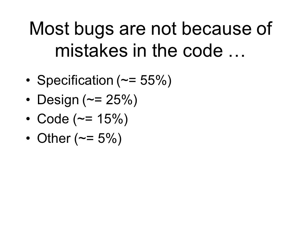 Most bugs are not because of mistakes in the code …