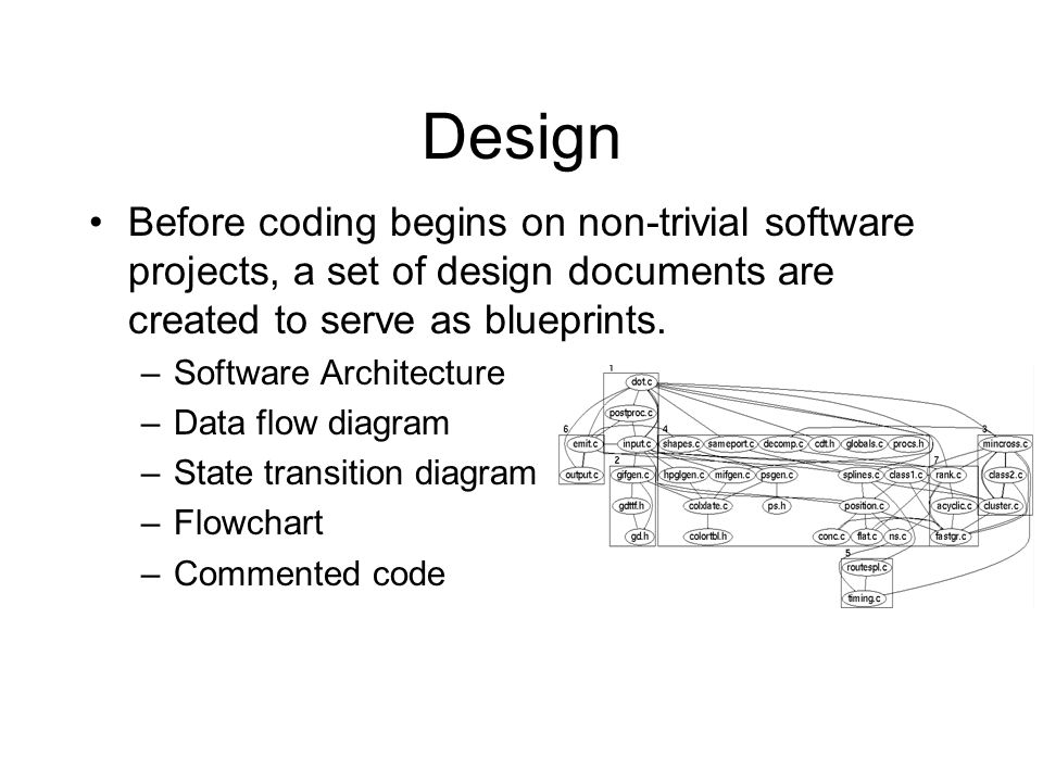 Design Before coding begins on non-trivial software projects, a set of design documents are created to serve as blueprints.