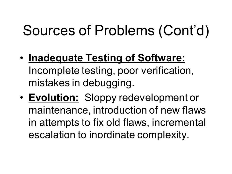 Sources of Problems (Cont'd)