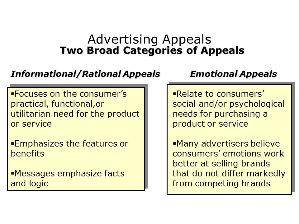 Two Broad Categories of Appeals