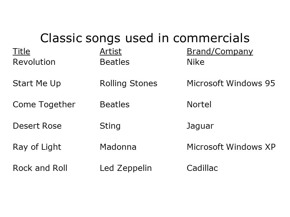 Classic songs used in commercials