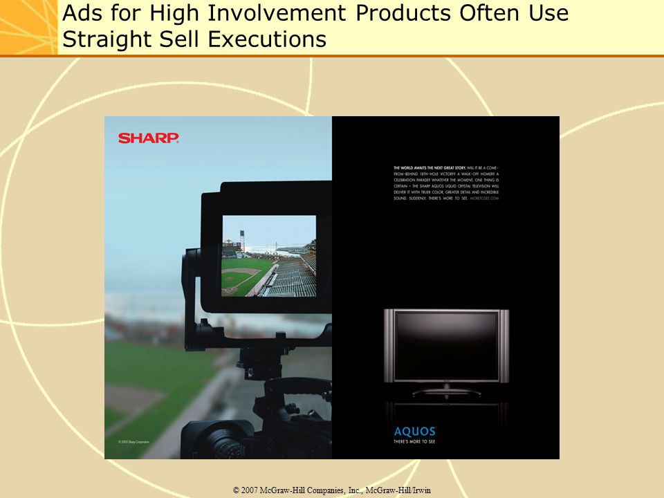 Ads for High Involvement Products Often Use Straight Sell Executions
