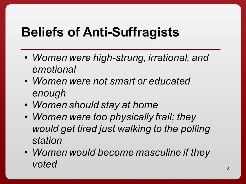 Beliefs of Anti-Suffragists
