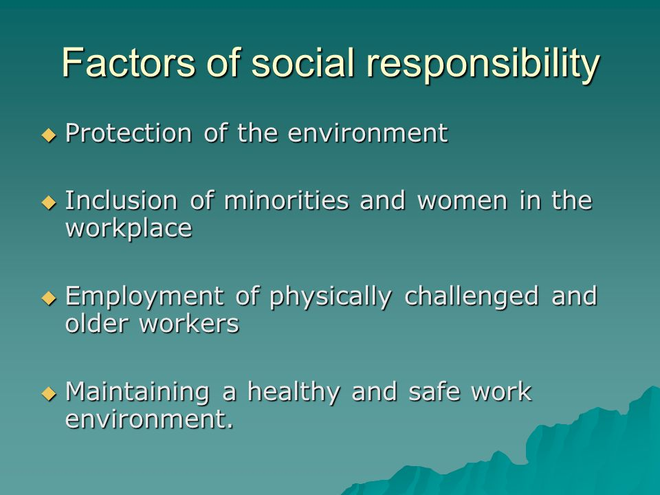 Factors of social responsibility