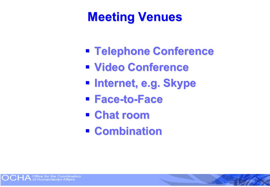 Meeting Venues Telephone Conference Video Conference