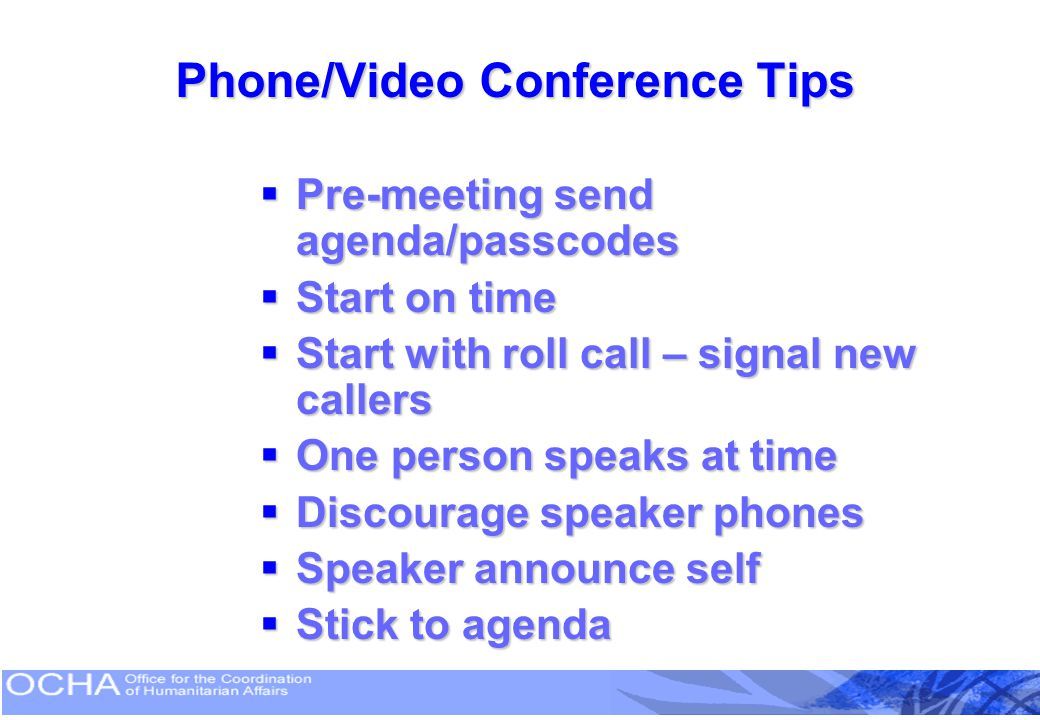 Phone/Video Conference Tips