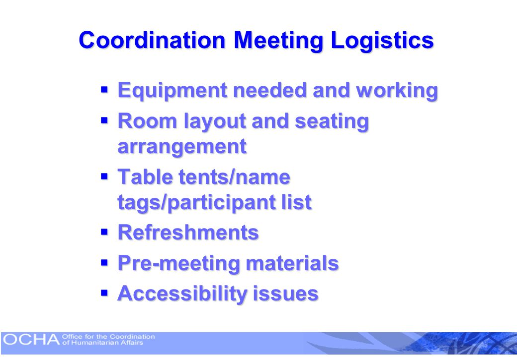 Coordination Meeting Logistics