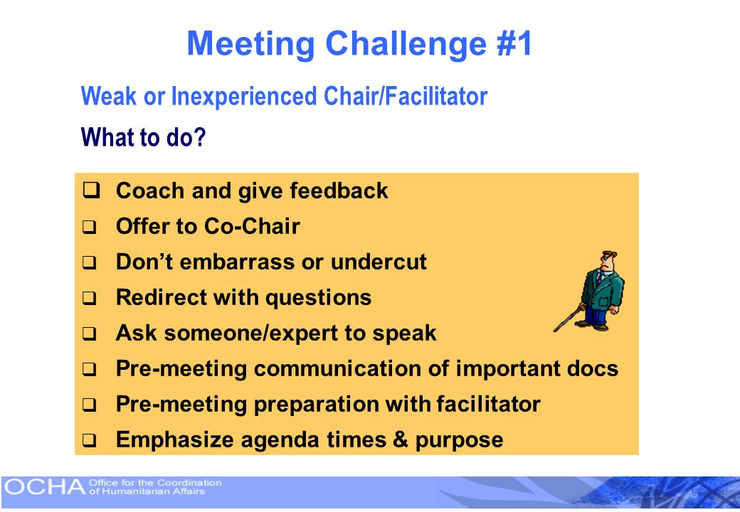 Meeting Challenge #1 Weak or Inexperienced Chair/Facilitator