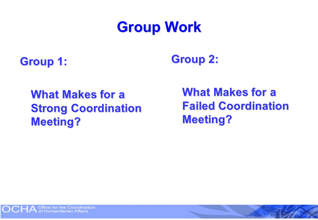 Group Work Group 2: What Makes for a Failed Coordination Meeting
