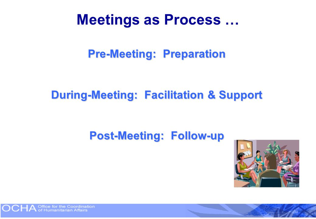 Meetings as Process … Pre-Meeting: Preparation