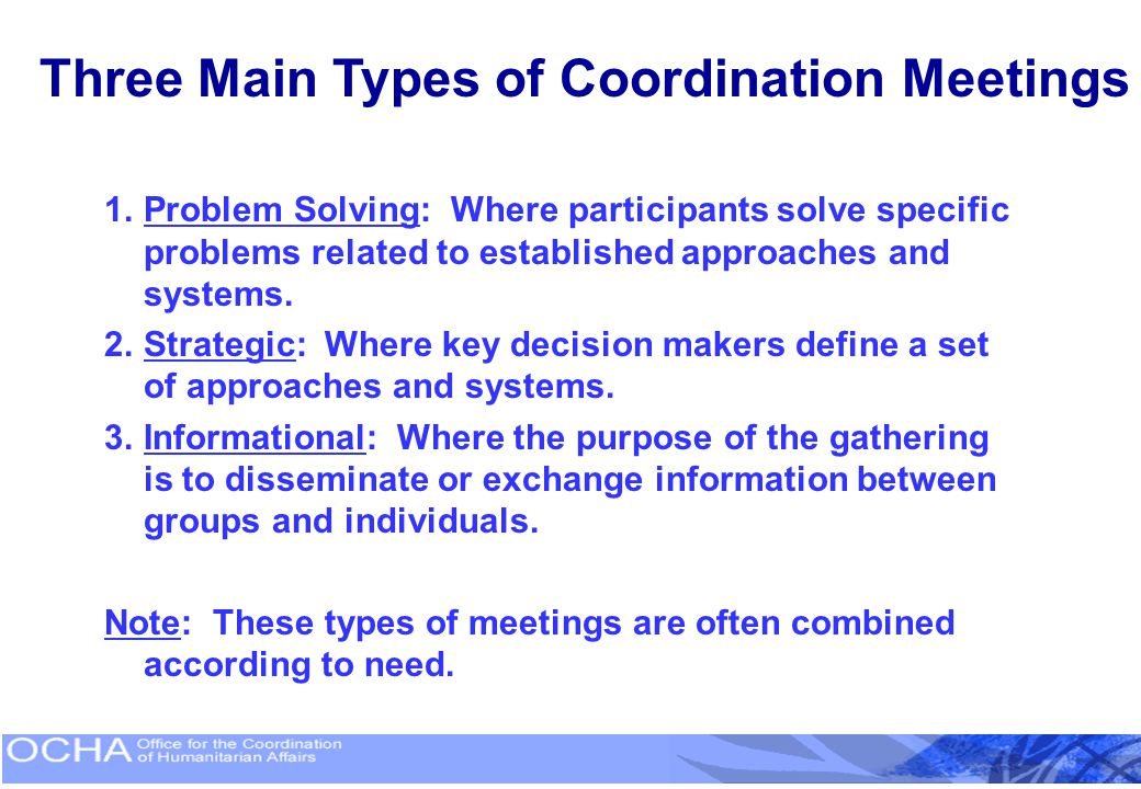 Three Main Types of Coordination Meetings