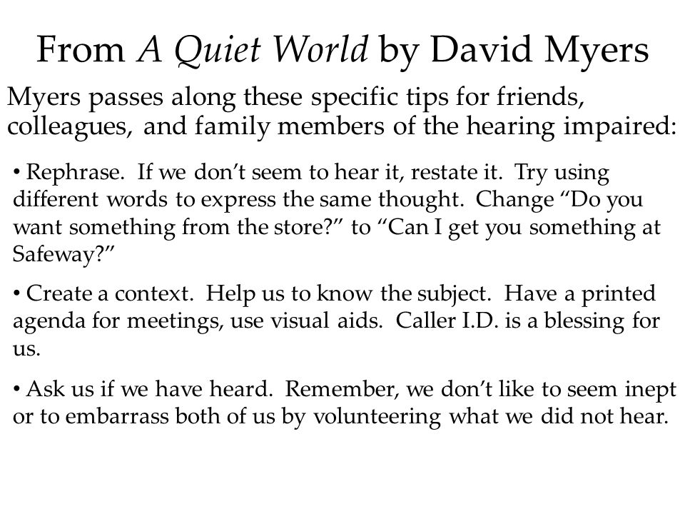 From A Quiet World by David Myers