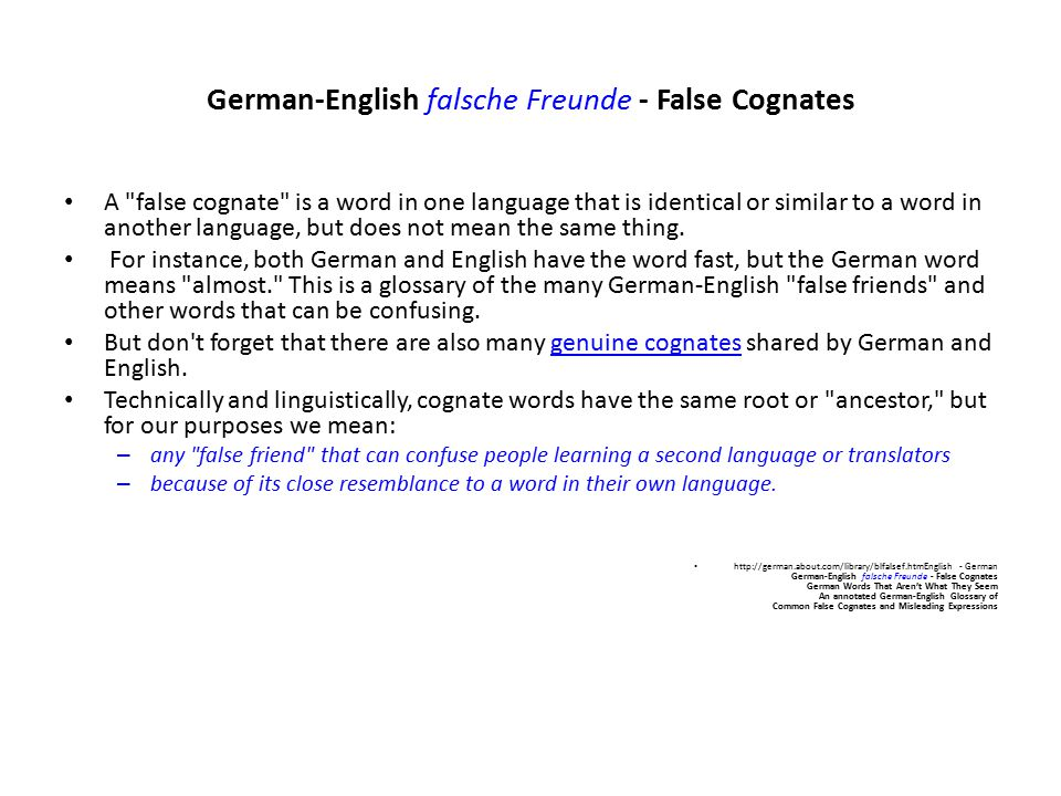German-English falsche Freunde - False Cognates