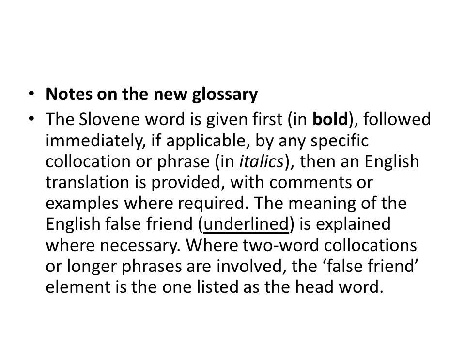 Notes on the new glossary