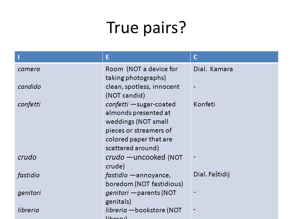 True pairs crudo I E C camera candido confetti fastidio genitori