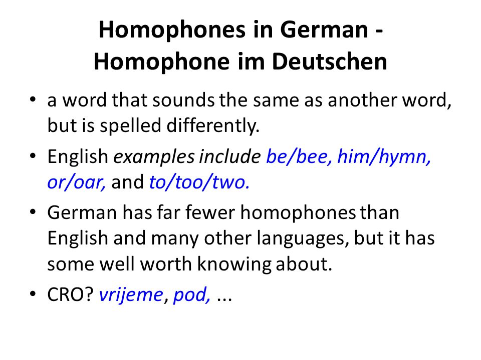 Homophones in German - Homophone im Deutschen