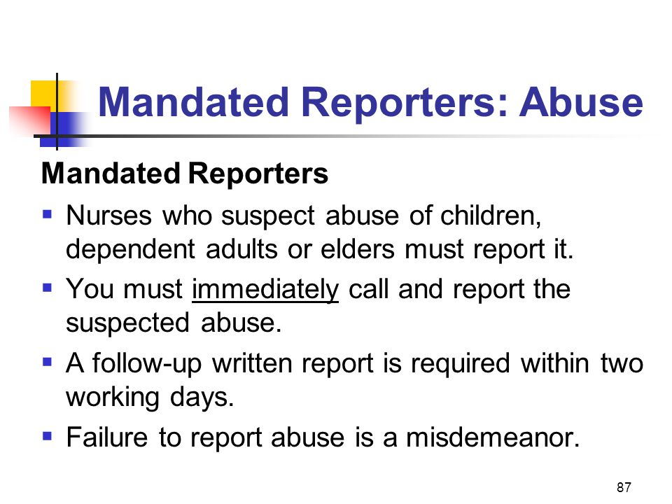 Mandated Reporters: Abuse