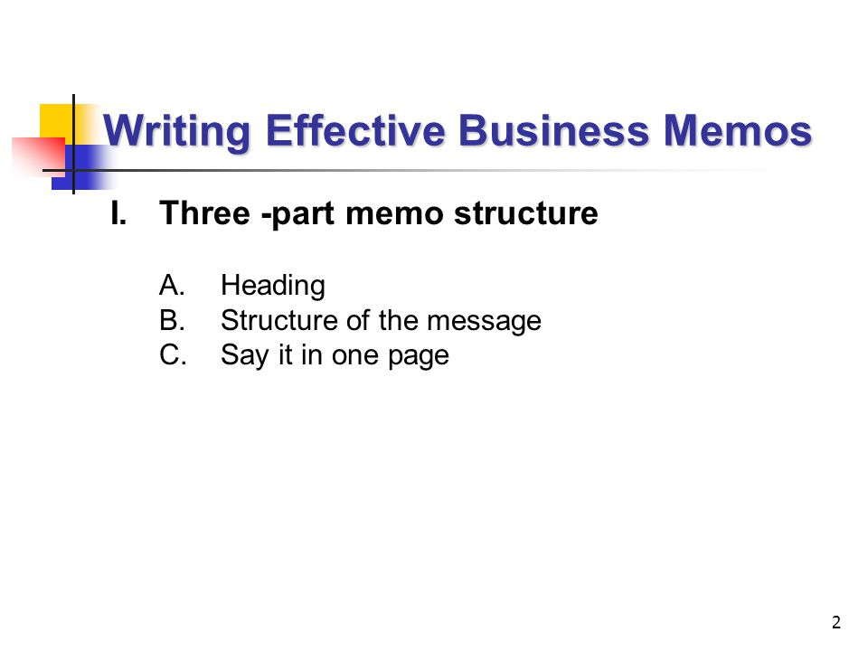 Writing Effective Business Memos