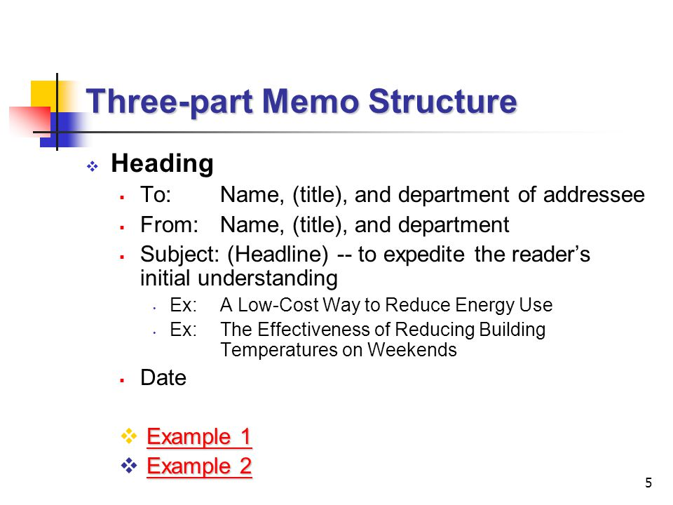 Three-part Memo Structure