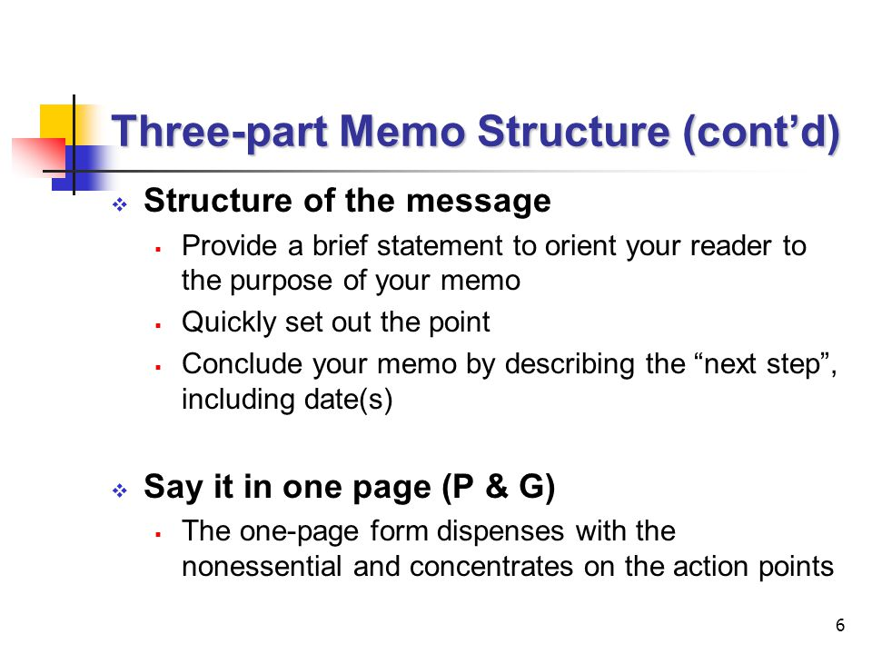 Three-part Memo Structure (cont'd)