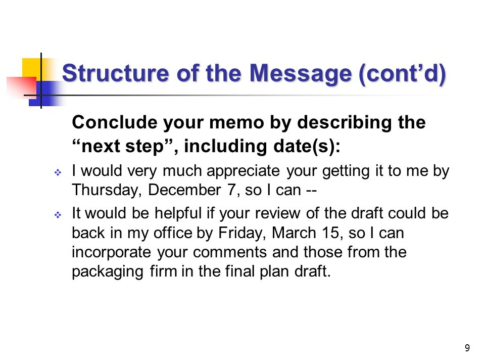 Structure of the Message (cont'd)