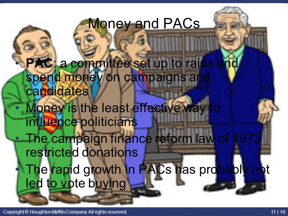 Money and PACs PAC: a committee set up to raise and spend money on campaigns and candidates.