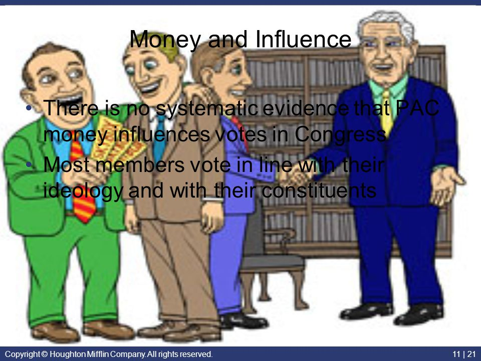 Money and Influence There is no systematic evidence that PAC money influences votes in Congress.
