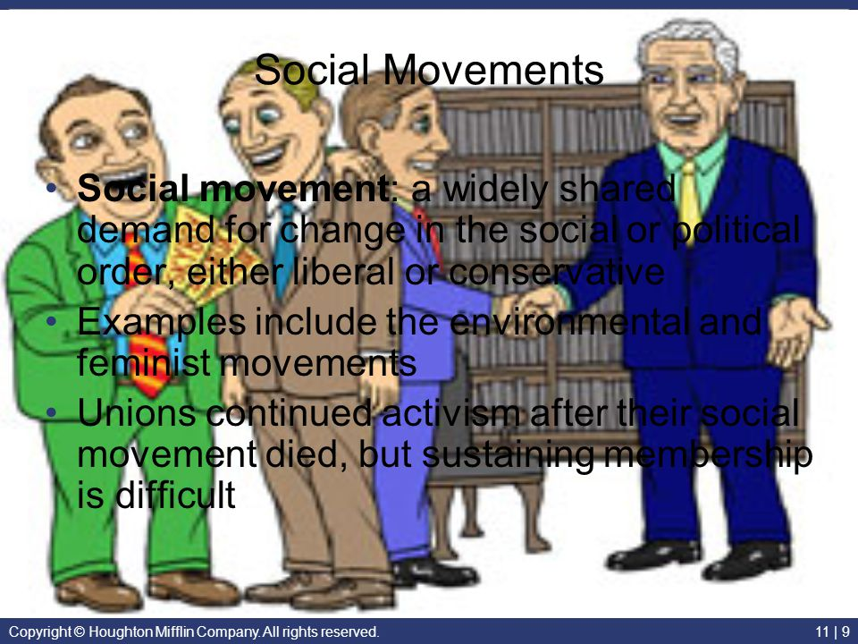 Social Movements Social movement: a widely shared demand for change in the social or political order, either liberal or conservative.