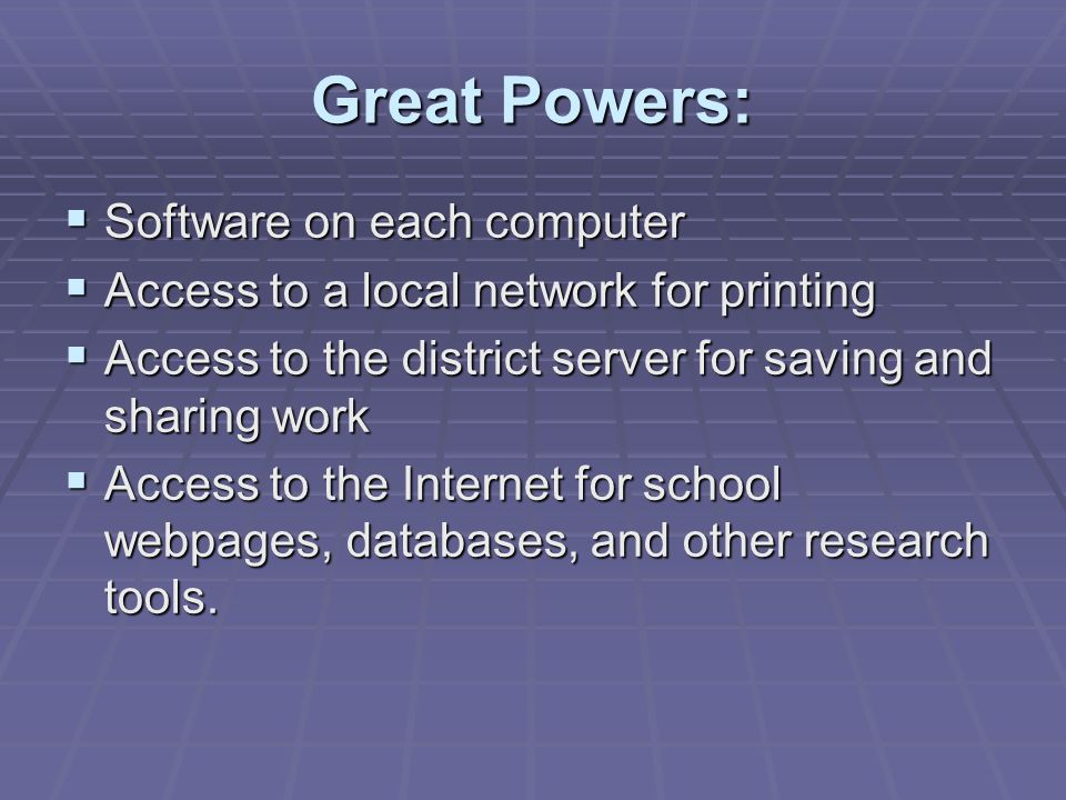 Great Powers: Software on each computer