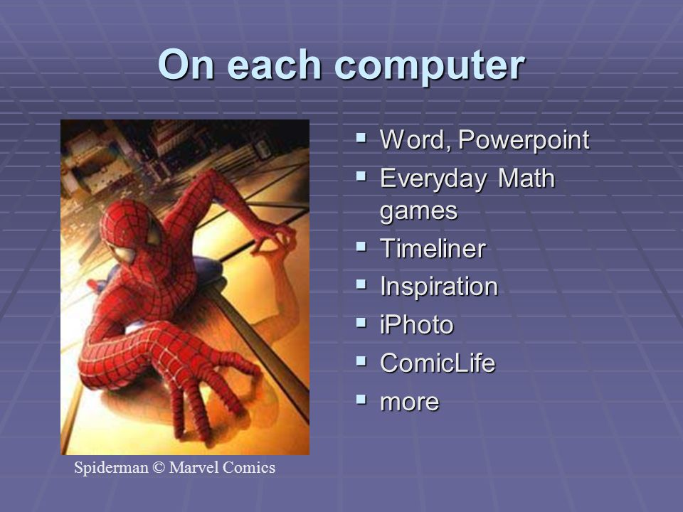 On each computer Word, Powerpoint Everyday Math games Timeliner