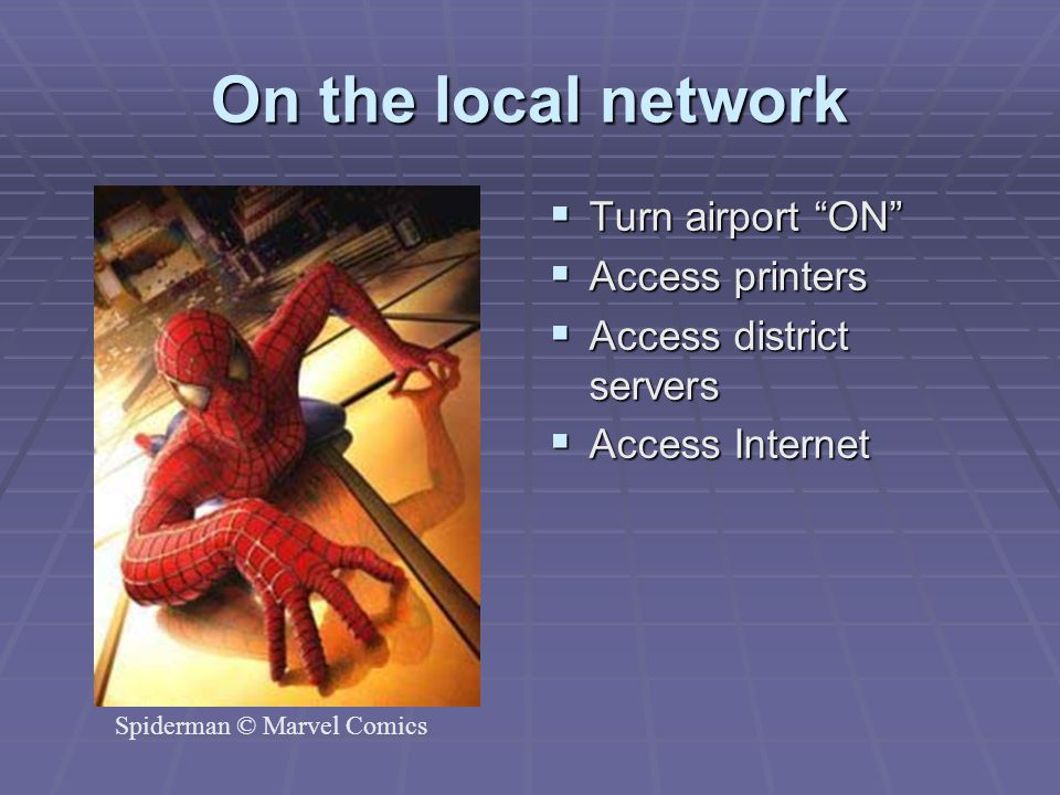 On the local network Turn airport ON Access printers