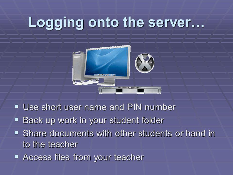 Logging onto the server…
